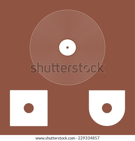 Vinyl Record icon  and Envelope. - stock vector