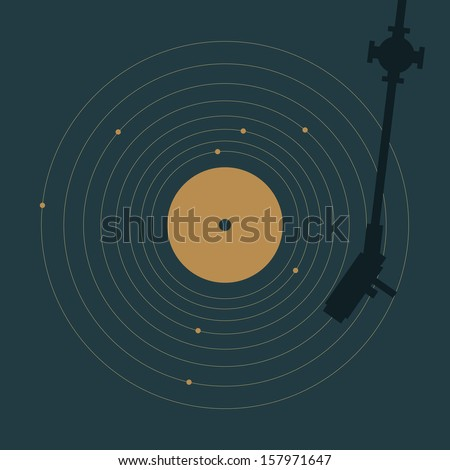 Vinyl record in shape of solar system. Creative minimal concept. - stock vector