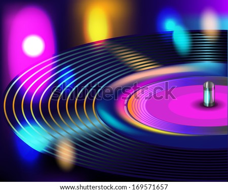 Vinyl record in the lights of the club - stock vector