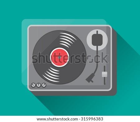 vinyl record player. vector illustration - stock vector