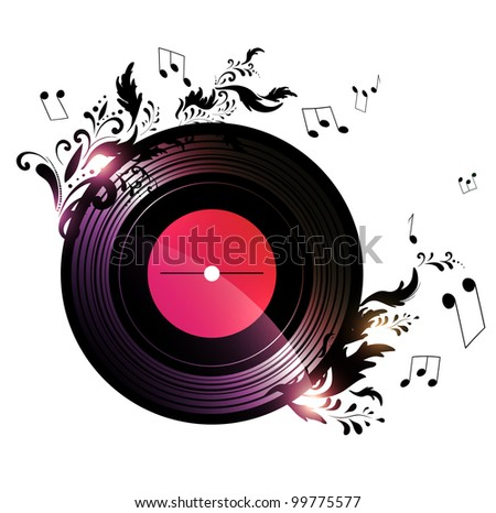 vinyl record with blank red label and floral music decoration over white background - stock vector