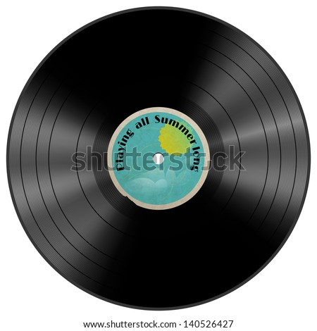 Vinyl record with summer label, design element. Layered file; transparencies were used to create this illustration. - stock vector