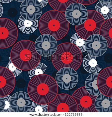 Vinyl records, stylish illustration seamless pattern - stock vector