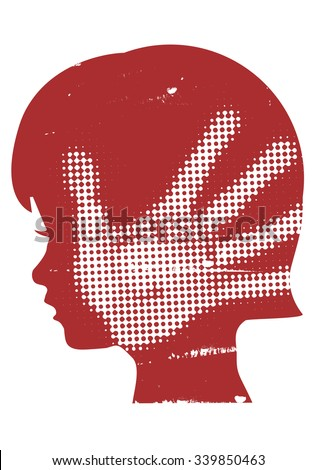 Violence against children. Little girl head grunge silhouette with with handprint after hand slap. Vector available.  - stock vector