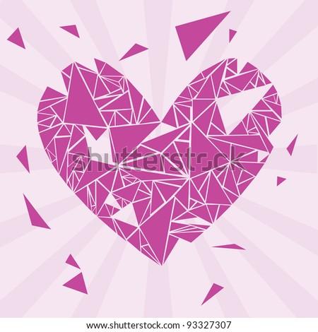 violet broken valentine heart - stock vector