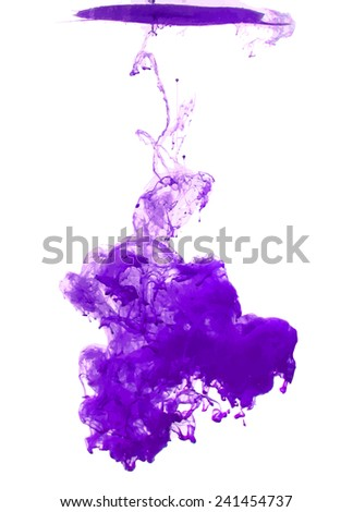 Violet cloud of ink swirling in water. Abstract background - stock vector