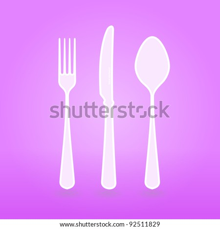 Violet Cutlery Set - stock vector