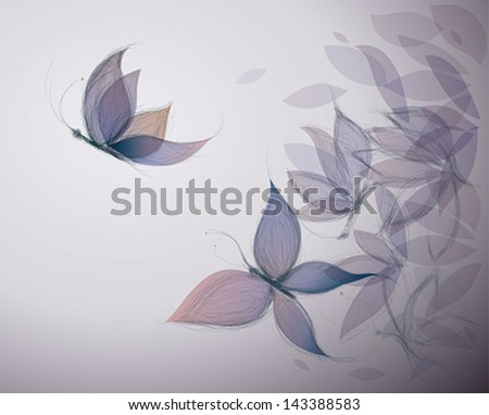 Violet Flowers like Butterflies / Surreal sketch - stock vector