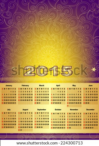 Violet-gold calendar for 2015 (with mesh, vector eps 10) - stock vector