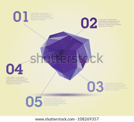 Violet Organic polygon chart - Infographics - Template design useful for infographics or graphic design - web design - stock vector