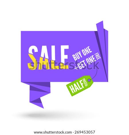Violet Origami paper speech bubble for sale with space for your text. Vector ribbon banner design for advertising - stock vector
