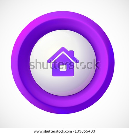Violet plastic vector home round button - stock vector