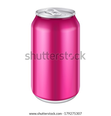 Violet Purple Magenta Pink Metal Aluminum Beverage Drink Can 500ml. Ready For Your Design. Product Packing Vector EPS10  - stock vector