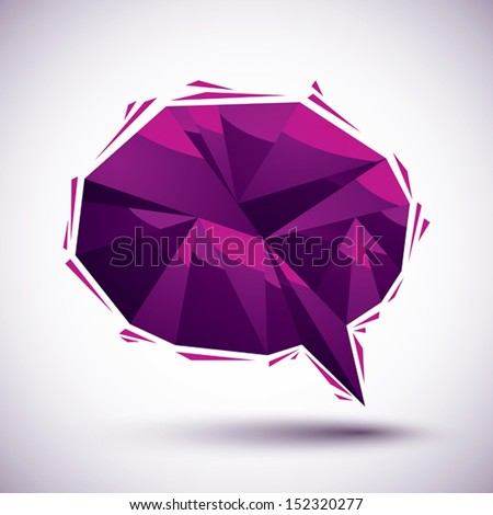 Violet speech bubble geometric icon made in 3d modern style, best for use as symbol or design element. - stock vector