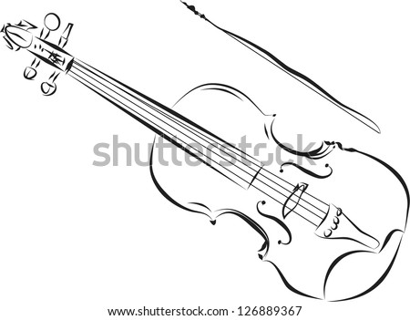 White Violin Drawing Violin White