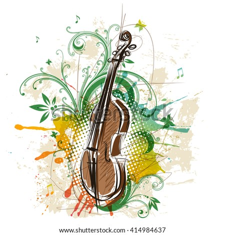 Violin, abstract floral background - stock vector