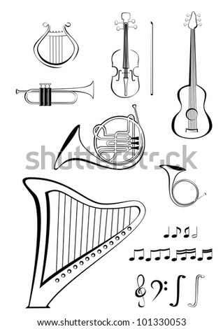 Violin, guitar, lyre, French horn, trumpet, harp and notes - stock vector