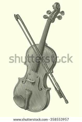 Violin. Hand drawn engraving. Vector vintage illustration. 8 EPS - stock vector
