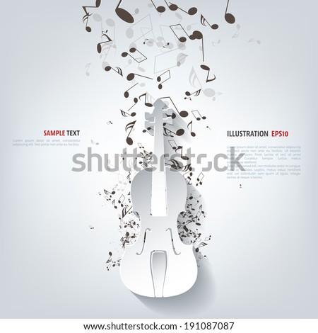 Violin Icon. Music background - stock vector