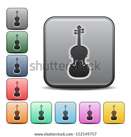 Violin Icon Square Vector Icon with Color Variations - stock vector
