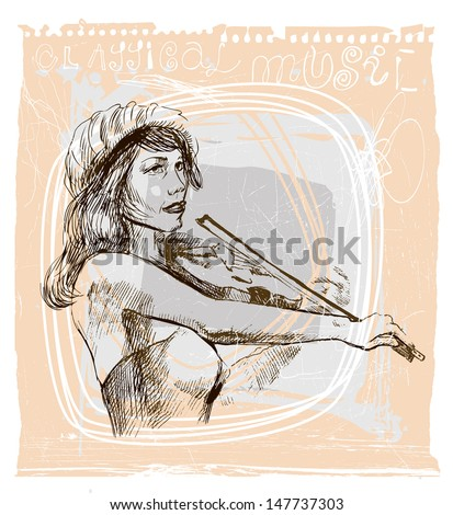 Violin player - An hand drawn illustration (sketch) converted into vector picture. - stock vector