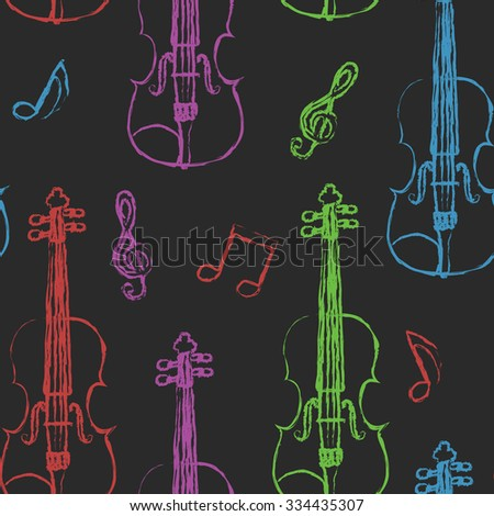 Violin sketch seamless pattern - stock vector