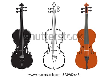 Violin. Vector isolated on white. - stock vector
