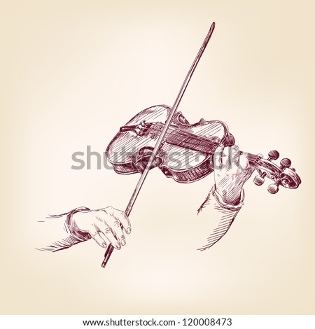 Violin - vintage hand drawn vector illustration - stock vector