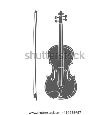 Violin with Bow. Music. Violin classical instrument. - stock vector