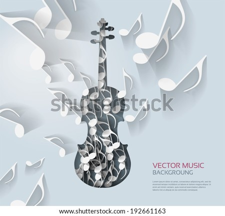 Violin with notes background. - stock vector