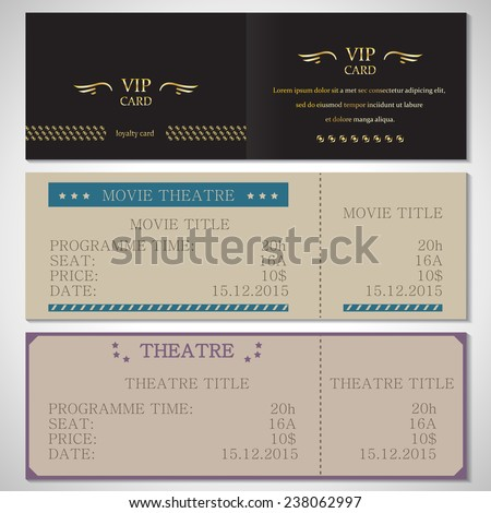 Vip Card, Movie Theatre And Theatre Flyer Template - Vector Illustration, Graphic Design, Editable For Your Design - stock vector