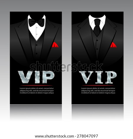 VIP Card Template With Suit and Tuxedo,With Diamond TEXT Vector EPS10 illustration - stock vector