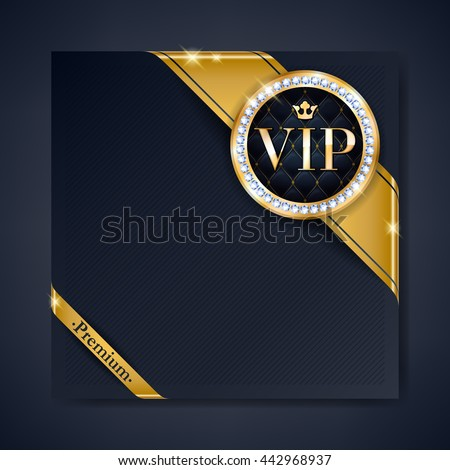 VIP club party premium invitation card poster flyer. Black and golden design template. Golden ribbons with round stamp label decorative vector background. - stock vector