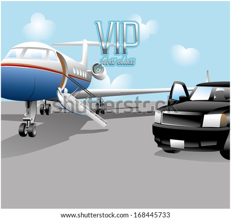 VIP first class transportation, jet private, black truck  - stock vector
