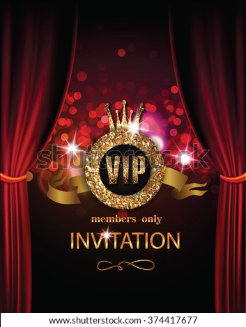 VIP invitation card with theater curtains and lights on the background - stock vector