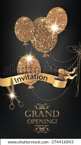 VIP invitation gold card with gold air balloons, ribbon and scissors - stock vector