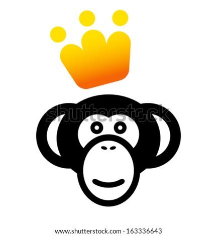 VIP monkey icon - stock vector