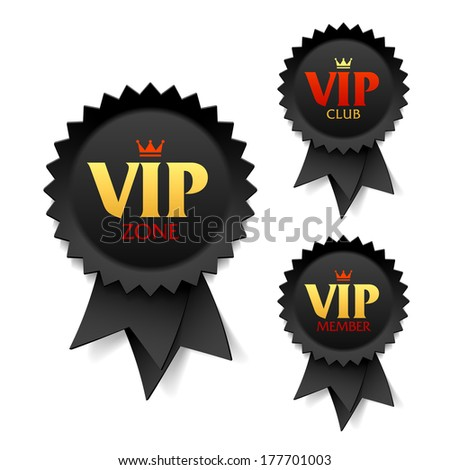 VIP zone, club and member labels. Vector. - stock vector