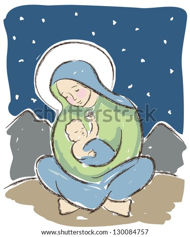 Virgin Mary holding baby Jesus illustrated in a loose artistic style. Original vector illustration. - stock vector