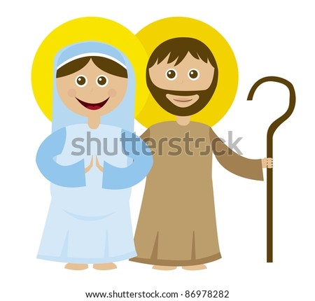 Virgin Mary pregnant with st. joseph isolated over white background. vector - stock vector