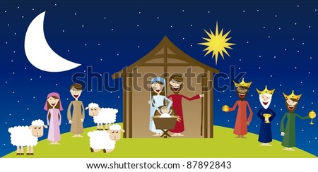 Virgin Mary, St. Joseph and Jesus with magi and pastors over landscape. vector - stock vector