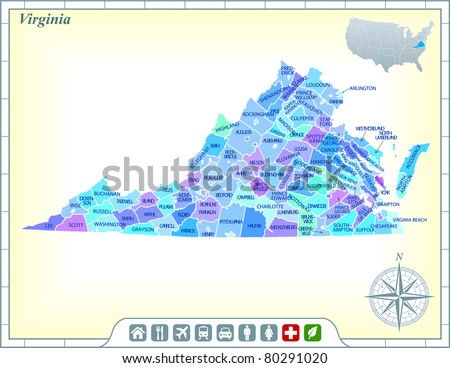 Virginia State Map with Community Assistance and Activates Icons Original Illustration - stock vector