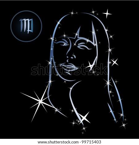 Virgo/Lovely zodiac signs formed by stars on black background - stock vector