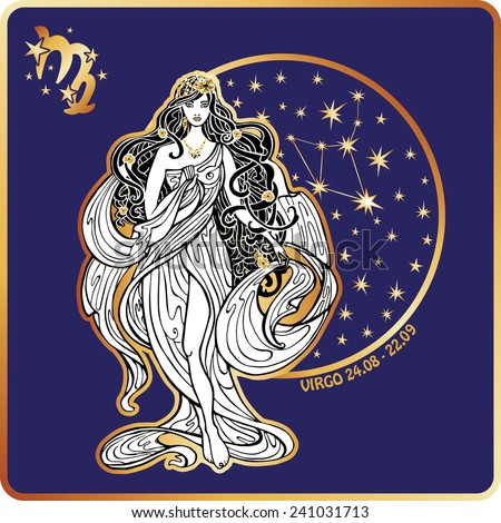 Virgo zodiac sign. Lovely female in  Greek dress and flowing hair  standing on circle of horoscope signs with constellation.Blue background.Art Nouveau - stock vector