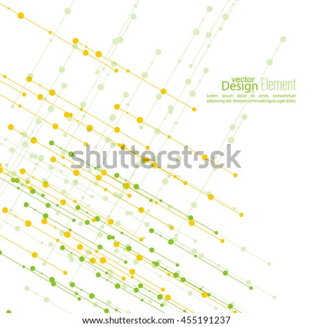 Virtual abstract background with particle, molecule structure. The intersecting diagonal lines with dots. Science and connection concept. The database information transfer. Yellow, green - stock vector