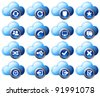 Virtual cloud icons Set 2 Blue - stock vector