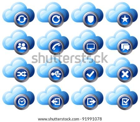 Virtual cloud icons Set 2 Blue - stock vector