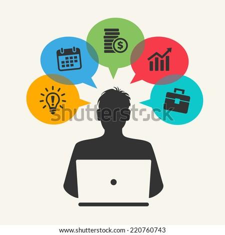 virtual cloud network concept - stock vector