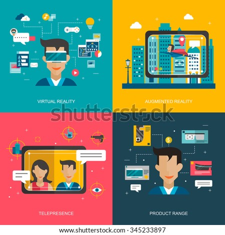 virtual reality concept collection in flat style  - stock vector