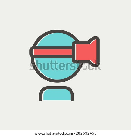 Virtual reality headset icon thin line for web and mobile, modern minimalistic flat design. Vector icon with dark grey outline and offset colour on light grey background. - stock vector